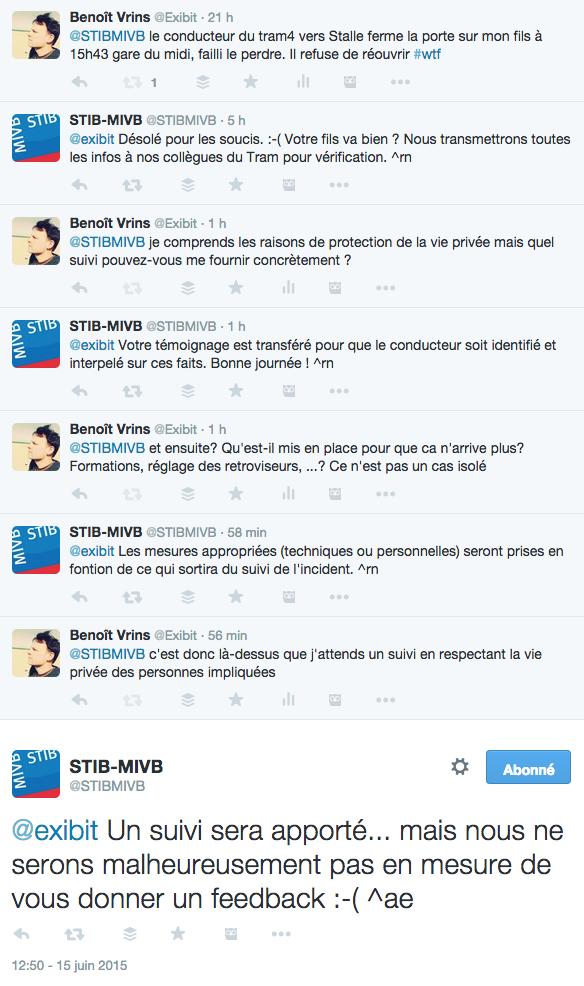 Conversation sur Twitter entre la STIB et @exibit