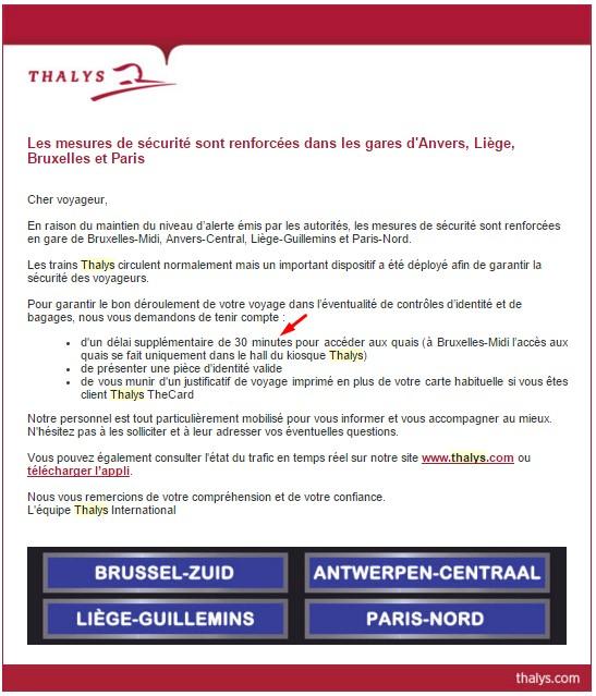 Email sécurité Thalys